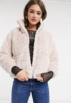 New Look faux fur stand neck jacket in pale pink