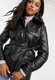 New Look faux leather jacket in black