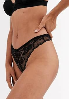 lace thong in black
