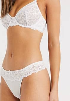 lace thong in white