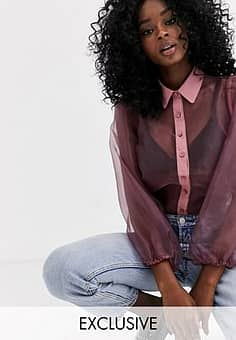 organza puff sleeve long sleeve blouse in purple