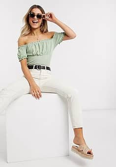 ribbed milkmaid top in light green