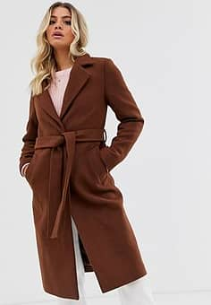 tailored belted coat in rust