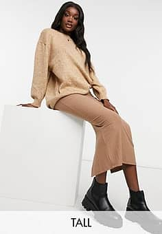 New Look jersey ribbed midi skirt in camel-Tan