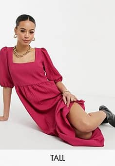 New Look square neck tiered midi smock dress in pink
