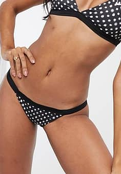 bikini bottoms in black polka dot-Multi