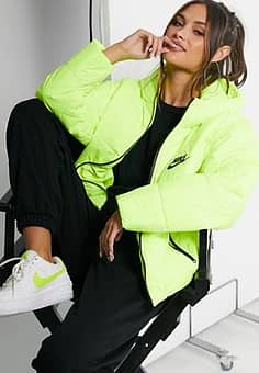 padded jacket with back swoosh in neon yellow