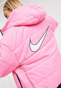 padded jacket with back swoosh in pink