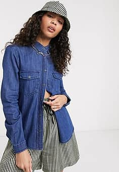 denim shirt-Blue