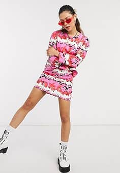 mini skirt in abstract flame print co-ord-Pink