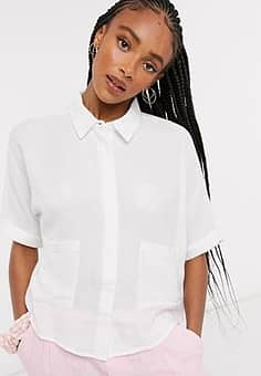 pocket front boxy cropped shirt in white