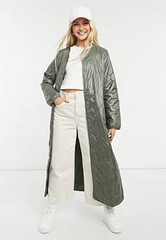 Only extra long quilted jacket in khaki-Green