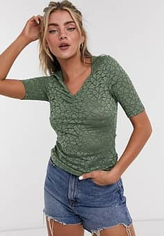 lenni gathered front t-shirt in green