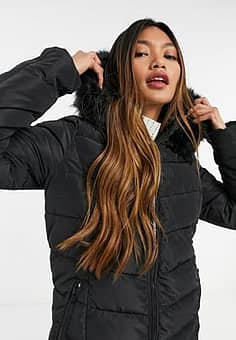 Only longline puffer jacket with faux fur hood in black