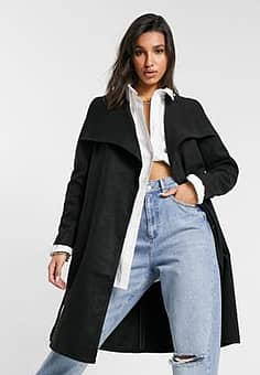 Only Phoebe drapey mid length coat in black