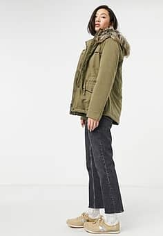 Only Starline short parka coat in green
