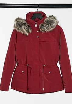 Only Starline short parka coat in red-Pink