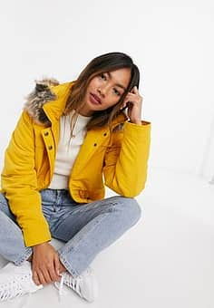 Only Starline short parka coat in yellow