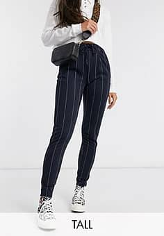 tailored cigarette trousers in navy pinstripe