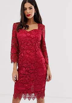 Paper Dolls all over lace 3/4 sleeve midi dress-Red