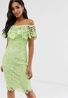 bardot lace pencil dress with frill detail in lime-Green