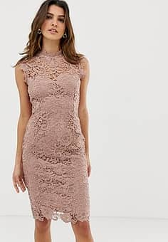 Paper Dolls high neck lace midi dress in taupe-Brown