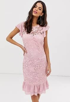 lace peplem midi dress-Purple
