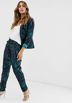 marble jacquard trousers-Green