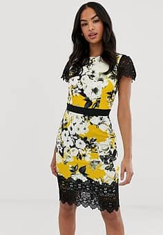 Paper Dolls short sleeve floral contrast waistband and scallop hem midi dress-Multi