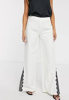 wide leg trouser with lace split detail co-ord in ivory-White