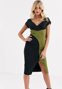 wrap midi dress with split in black and olive-Multi