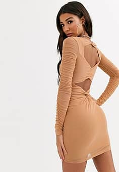 bodycon dress with ruched detail-Brown