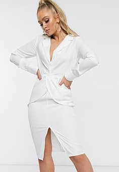 plunge front midi dress with thigh split-White