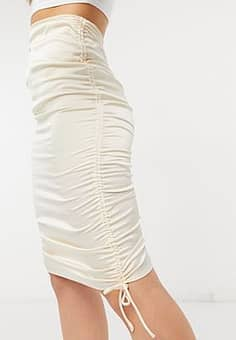 ruched skirt in champagne-Gold