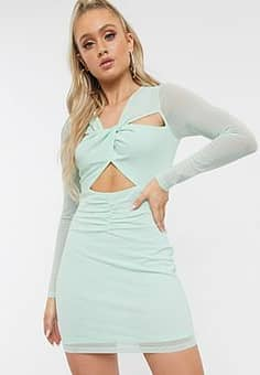 twist detail bodycon mini dress-Green