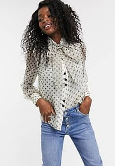pussybow blouse in spotty organza-White