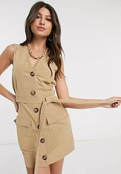 tie front utility dress in stone-Neutral