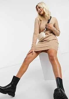 Pieces jumper dress with high neck in camel-Cream