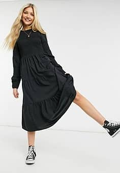 Pieces midi smock dress with shirring in black