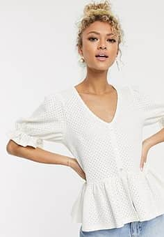 peplum broderie top with puff sleeve in white