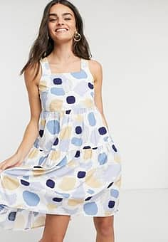 Pieces polka dot dress with tie back-Multi