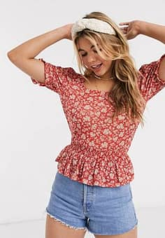 puff sleeve square neck top-Red