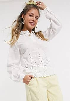shirt with broderie detail in white
