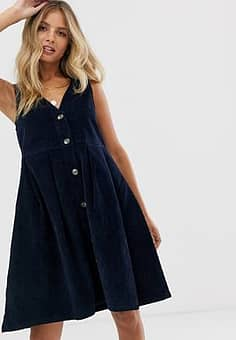 Pieces v neck button front cord pinny dress-Navy