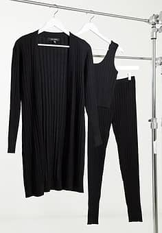 3 piece ribbed loungewear set in black