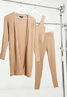 3 piece ribbed loungewear set in camel-Brown