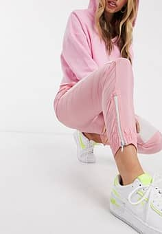 elasticated cuff cargo trousers with stripe in pink