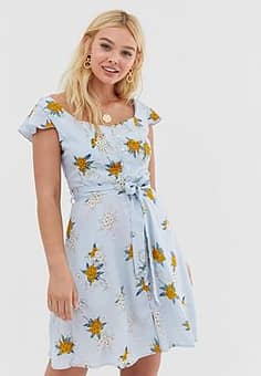 QED London floral skater dress with tie waist detail-Blue