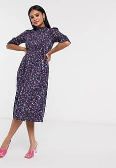 QED London high neck tie waist midi dress in floral print-Navy