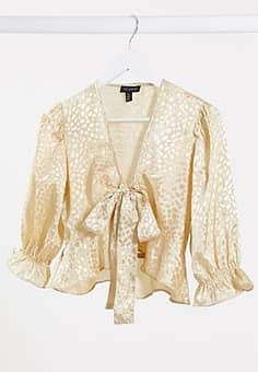 jacquard satin tie front blouse in champagne-Neutral